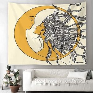 Boho Moon and Sun Wall Hanging Tapestry
